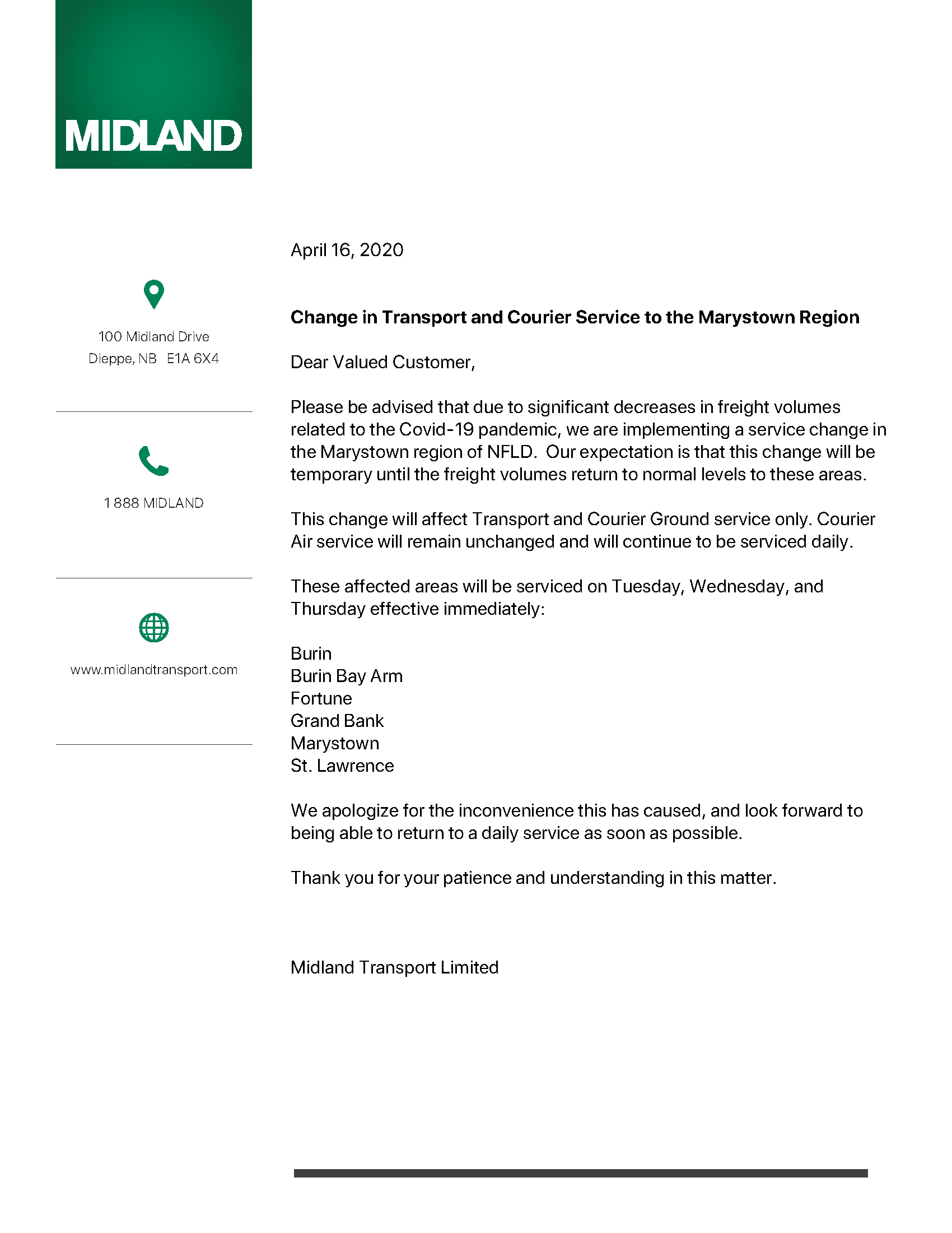 Change in Transport and Courier Service to the Marystown Region - April 15, 2020