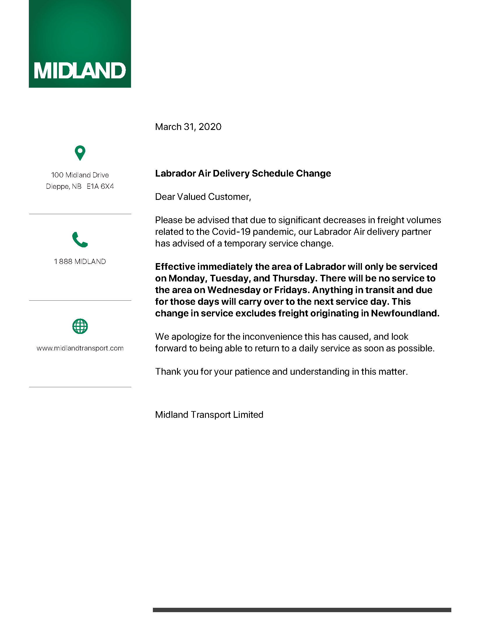 Labrador Air Delivery Schedule Change  - March 31, 2020